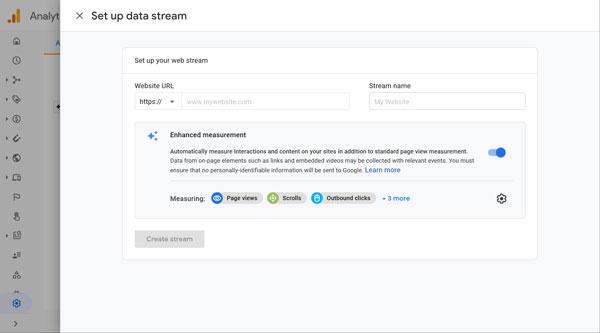 Google Analytics set up your web stream page.