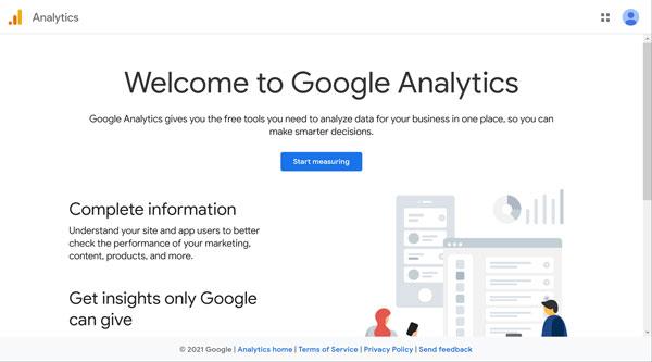 Google Analytics welcome screen.