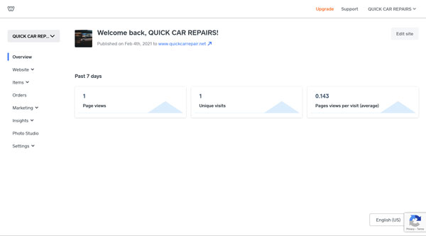 Google Analytics for Weebly welcome screen.