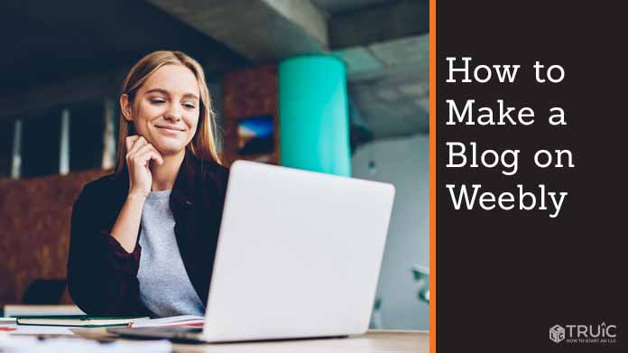 """Person creating website on computer. Text to the right reads, """"How to make a blog on Weebly."""""""