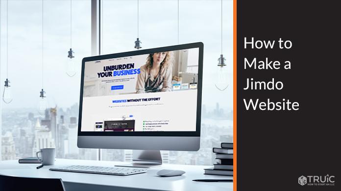 Computer screen showing Jimdo website.
