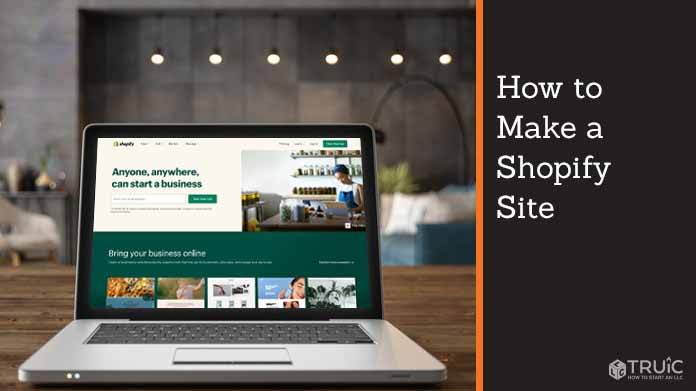 """Laptop with shopify webpage that says, """" Anyone, anywhere, can start a business."""""""