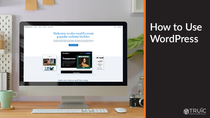 Wordpress home page on a desktop computer