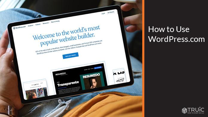 WordPress.com home screen on a tablet.