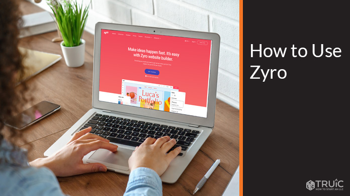 Zyro home page on a laptop.