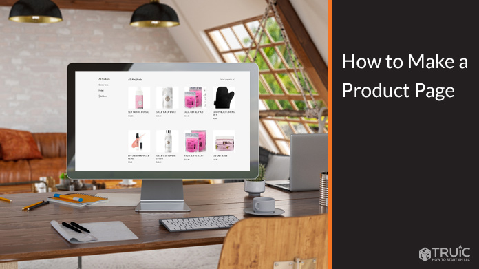 Product page on computer screen.