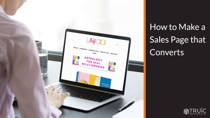 Sales page on computer screen.