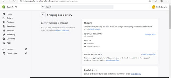 Shopify shipping and delivery screen