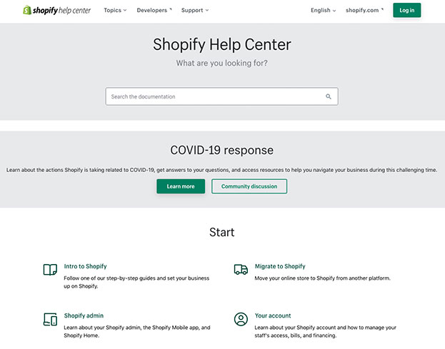 Screenshot of how to get help on Shopify.