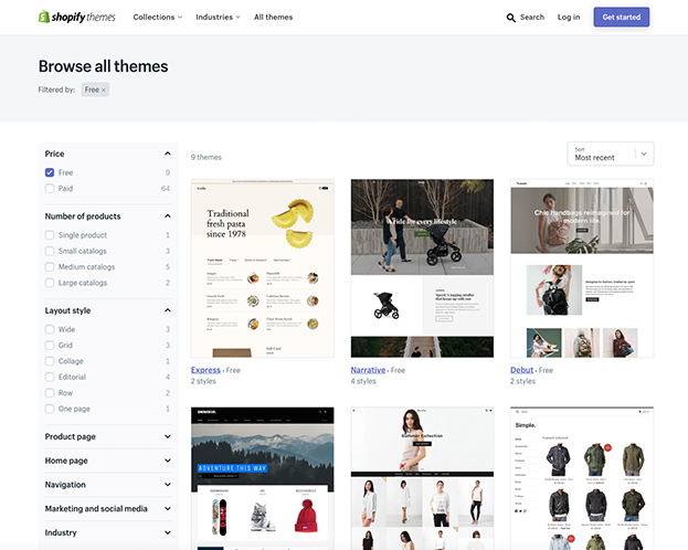 Screenshot of the various themes available on Shopify.