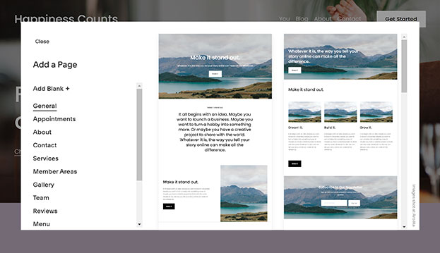 Screenshot of how to add a page in the Squarespace Website Builder.