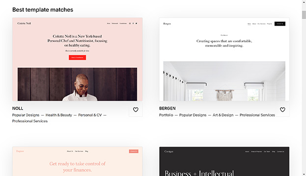 Screenshot of the different templates available with Squarespace.