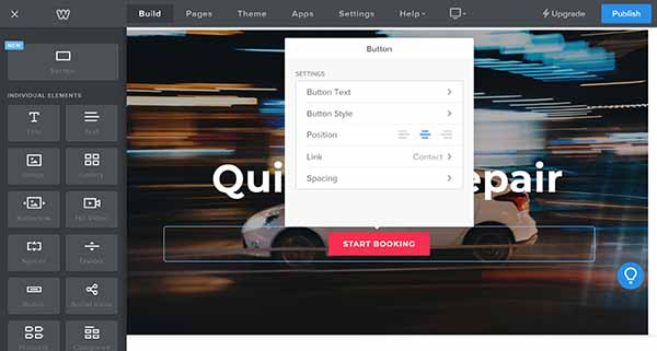 Weebly website builder CTA button editing options