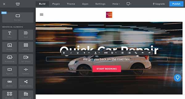 Weebly website builder tagline in header editing options