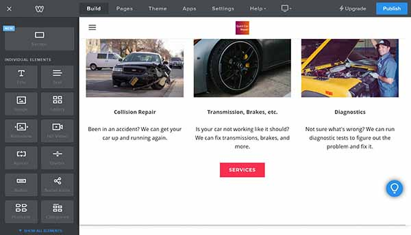 Weebly website builder build page editing options with custom button