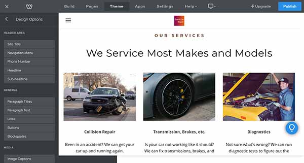 Weebly website builder editing options for services page template