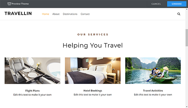 Weebly website builder Travellin home screen preview