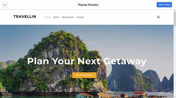 Weebly website builder Travellin theme preview