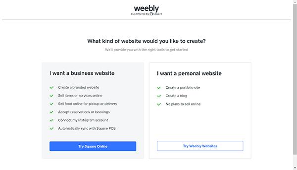 Weebly website builder type of website option screen