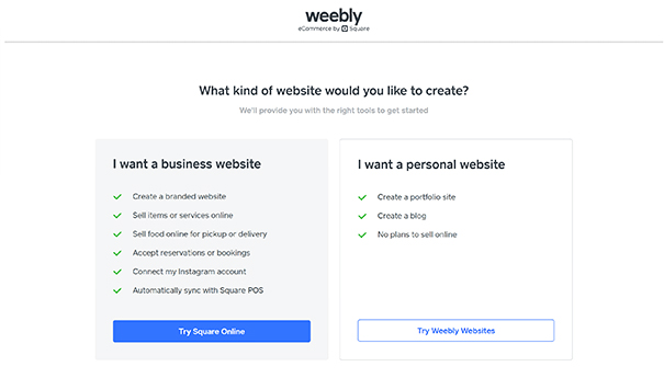 Screenshot of Weebly Business/Personal website creation