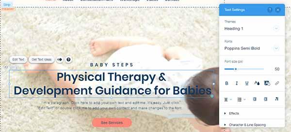 Screenshot of Wix's website text editing tool