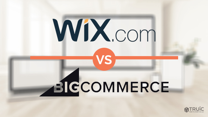 Wix and Bigcommerce logos on a blurred background.