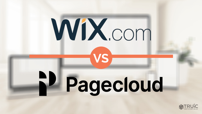 Wix and Pagecloud logos on a blurred background.