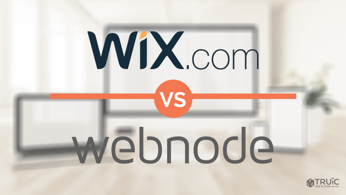 Wix and Webnode logos on a blurred background.