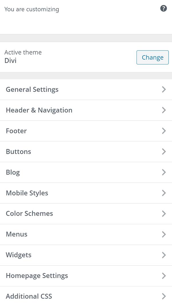 WordPress customizing theme panel sidebar with Divi theme.