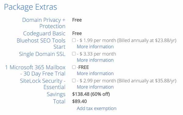 WordPress Package extras description.