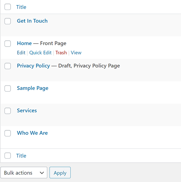 WordPress website list of pages editor.