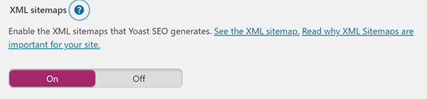 WordPress XML sitemaps enable or disable screen.