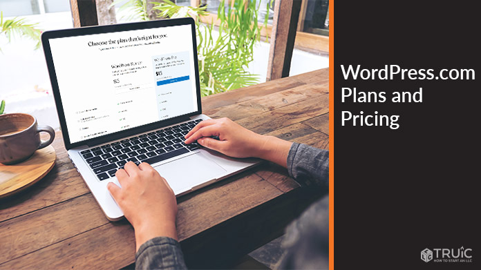 Computer screen with WordPress.com pricing and plans.