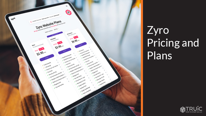 Zyro Pricing and Plans example.
