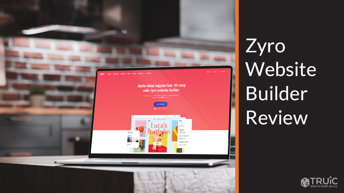 A laptop with Zyro website builder on the screen.