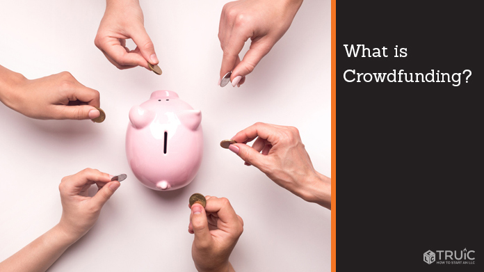 """People putting coins in a piggy bank. To the right it reads, """"What is Crowdfunding."""""""