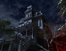 A dilapidated mansion looms in the background on a cloudy night