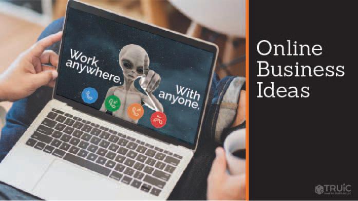 Open laptop on entrepreneur lap with text