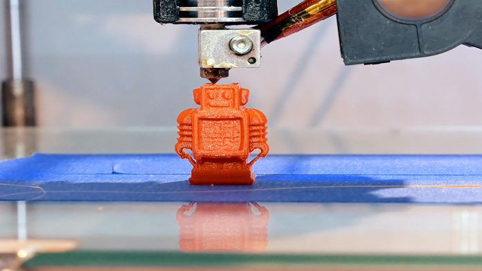 Close-up of 3d printer in operation.