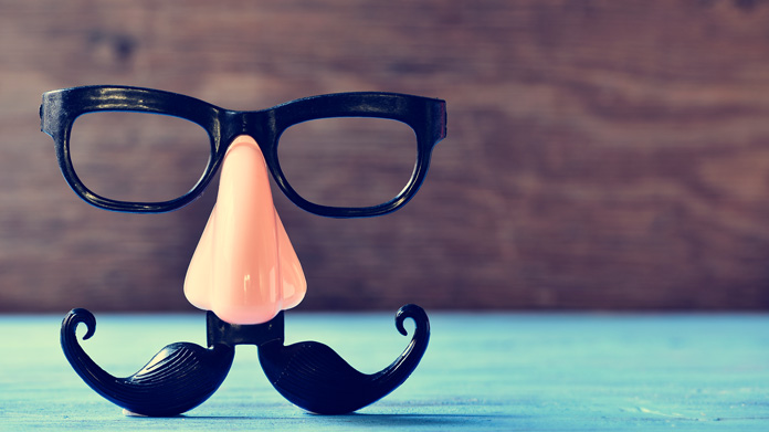 Picture of groucho glasses standing on table