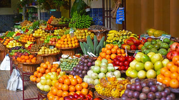 Baskets of fruit at a marketplace