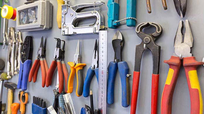 Hardware Store Business Idea: A wall lined with tools