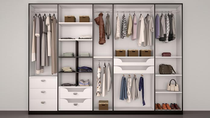 A well organized closet with clothing
