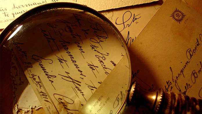 Letters and magnifying glass