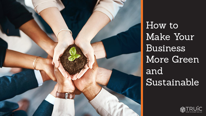 Business people holding a plant growing out of soil in their hands.
