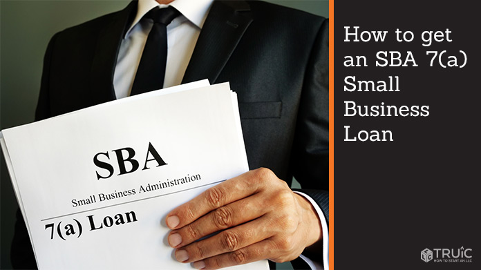 """Man holding a stack of paper with """"SBA 7(a) loan"""" on the front"""