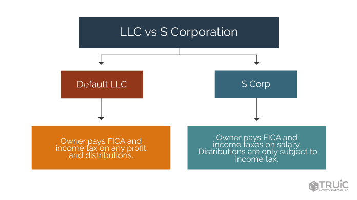 diagram showing the differences between s corporations and L L Cs