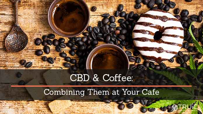 Cups of coffee, coffee beans, pastries, and marijuana leaves