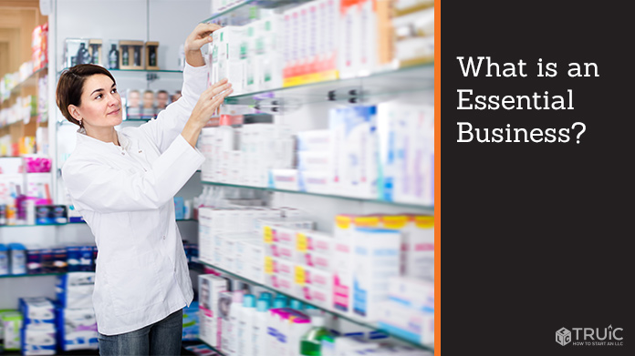 An essential worker stocking pharmacy shelves