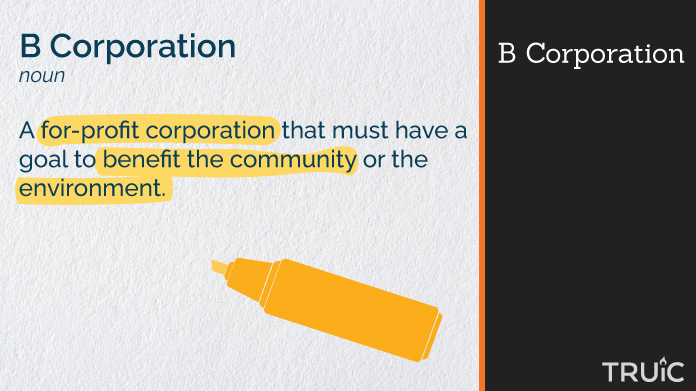 Definition of a b corporation with highlighting.